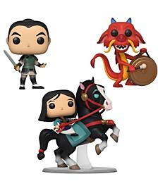 """Pop Disney Mulan Collectors Set - 10"""" Pop Ride Mulan On Khan, Mulan As Ping, Mushu with Gong"""