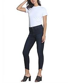 High-Rise Slant-Hem Skinny Ankle Jeans