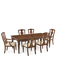 Orle Dining 7 pc Set  (Dining Table & 4 Side Chairs & 2 Arm Chairs), Created for Macy's