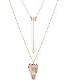 "Gold-Tone Crystal Double-Layer Pendant Necklace, 32"" + 2"" extender"