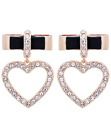 Gold-Tone Crystal Bow & Heart Charm Drop Earrings