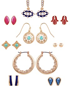 Gold-Tone 9-Pc. Set Crystal & Stone Spiritual Symbol Earrings