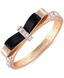 Gold-Tone Crystal Bow Bangle Bracelet