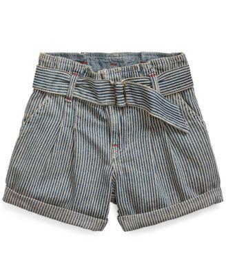 폴로 랄프로렌 여아용 반바지 Polo Ralph Lauren Toddler Girls Belted Cotton Denim Paperbag Shorts,Leanna Wash
