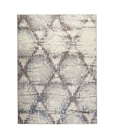 "Barnes Bar01 Gray and Blue 7'10"" x 10'2"" Area Rug"
