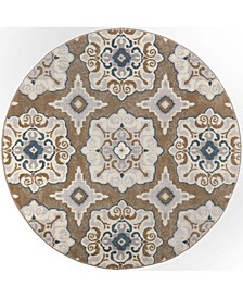 """Haven Hav11 Taupe and Blue 7'10"""" x 7'10"""" Round Rug"""