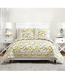Hummingbird Blooms Yellow Quilted Bedding