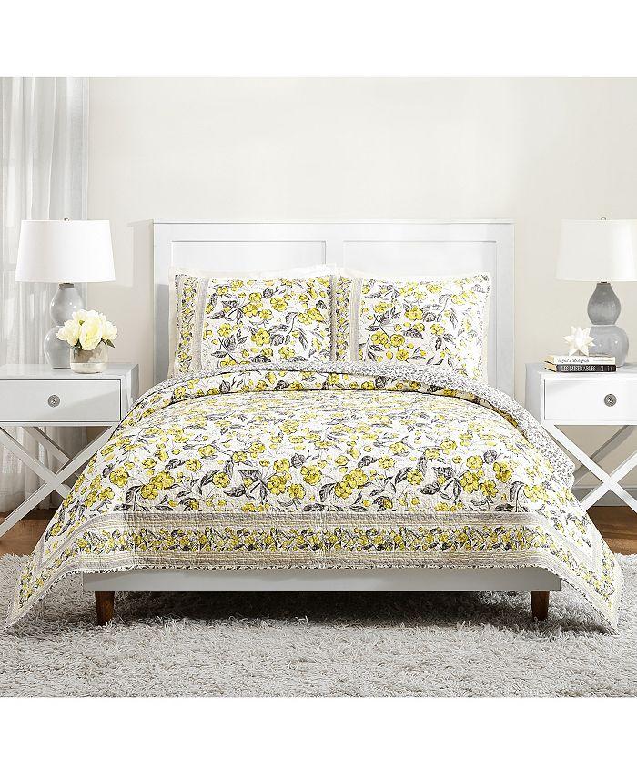 Jessica Simpson - Hummingbird Blooms Yellow King Quilt