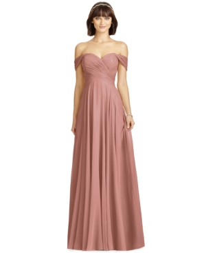 Off-The-Shoulder Chiffon Gown
