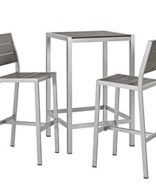 Shore Outdoor Patio Aluminum Outdoor Pub Set 3 Piece