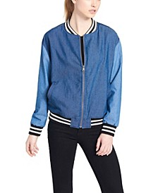 Color-Blocked Denim Bomber Jacket