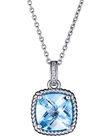 """Blue Topaz (3-1/2 ct. t.w.) & Diamond Accent 18"""" Pendant Necklace in Sterling Silver (Also in Green Amethyst & Pink Amethyst)"""