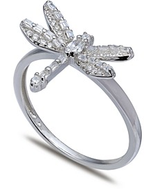 Cubic Zirconia Dragonfly Ring in Sterling Silver, Created for Macy's