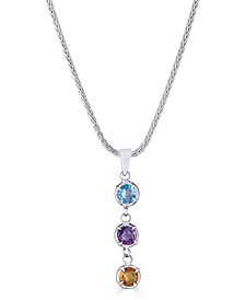 "Multi-Gemstone Dangle 18"" Pendant Necklace (3/4 ct. t.w.) in Sterling Silver, 17-1/2"" + 3"" extender"