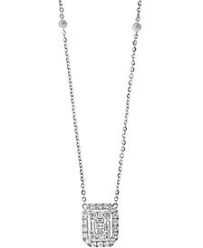 "EFFY® Diamond Baguette Halo Pendant Necklace (5/8 ct. t.w.) in 14k White Gold 16"" + 2"" extender"
