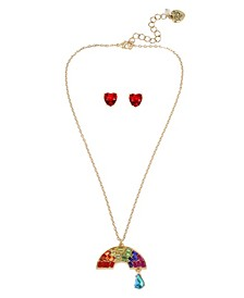 """Rainbow Pendant Necklace  Stud Earrings Set in Gold-tone Metal, Necklace 16"""" + 3"""" Extender and Earring 0.4"""""""