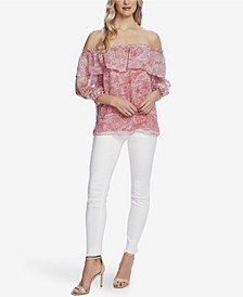 Women's Tiered Off Shoulder Printed Blouse
