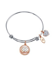 """Grandma"" Mother of Pearl and Crystal Rose Charm Expandable Bangle Bracelet in Stainless Steel & Rose Gold Tone Plated Charms"