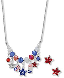 Silver-Tone Multicolor Pavé Star Red, White & Blue Beaded Statement Necklace & Stud Earrings Set, Created for Macy's