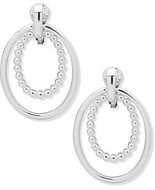 Silver-Tone Doorknocker Clip-On Drop Earrings