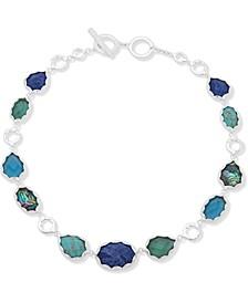"""Silver-Tone Multi-Stone 17"""" Collar Necklace"""