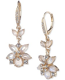 Gold-Tone Pavé & Mother-of-Pearl Flower Drop Earrings