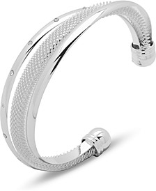Silver-Tone Pavé & Mesh Overlapping Cuff Bracelet, Created for Macy's