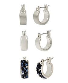 Silver-Tone Stone Huggie Hoop Earrings Set