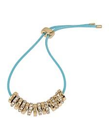 Gold-Tone Pave Bead Colored Friendship Bracelet