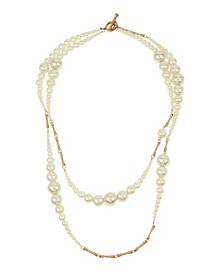 New York Imitation Pearl Two Row Layered Necklace