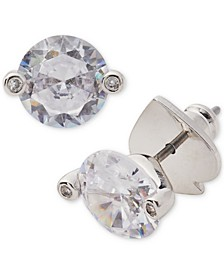 Silver-Tone Cubic Zirconia 2-Prong Stud Earrings