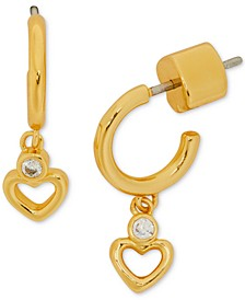 Gold-Tone Heart & Cubic Zirconia Charm Huggie Hoop Earrings
