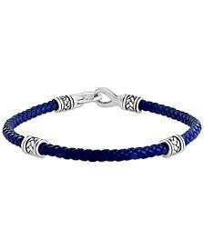 EFFY® Men's Blue Leather Cord Beaded Bracelet in Sterling Silver