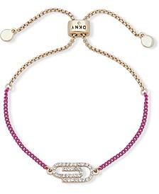 Two-Tone Pavé Paper Clip Slider Bracelet