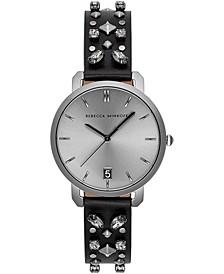 Women's Billie Stud & Crystal Black Leather Strap Watch 34mm