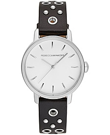 Women's BFFL Silver-Tone Stud & Black Leather Strap Watch 35mm