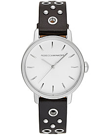 Rebecca Minkoff Women's BFFL Silver-Tone Stud & Black Leather Strap Watch 35mm
