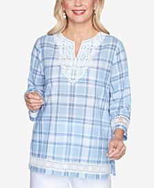 Lace Trim Three-Quarter Sleeve Plaid Woven Shirt