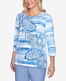 Watercolor Biadere Paisley Embellished Neckline Three-Quarter Sleeve Knit Top
