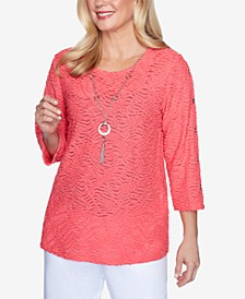 Three-Quarter Sleeve Solid Grommet Sleeve Top with Detachable Necklace