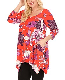 Women's Plus Size Floral Scoop Neck Tunic Top with Pockets