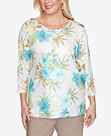 Three Quarter Sleeve Tropical Animal Print Knit Top