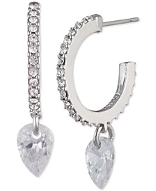 Cubic Zirconia Charm Pavé Huggie Hoop Earrings