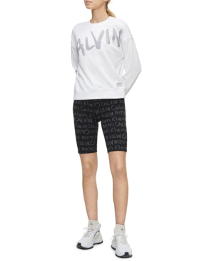 Calvin Klein Performance Brush-logo High-waist Bike Shorts In Black