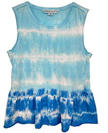Juniors' Peplum Tie-Dyed Tank Top