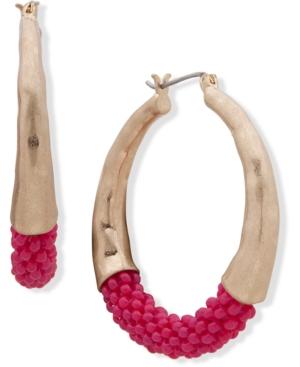 Gold-Tone Medium Colored Seed Bead Hoop Earrings