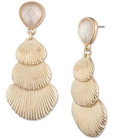 Gold-Tone Shell & Stone Linear Drop Earrings