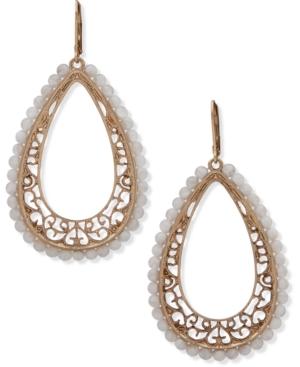 Gold-Tone Filigree & Bead Drop Earrings