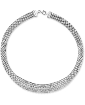 """Wide Mesh Graduated 18"""" Statement Necklace in 14k White Gold"""