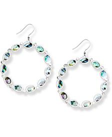 Silver-Tone Pavé & Abalone Circle Drop Earrings